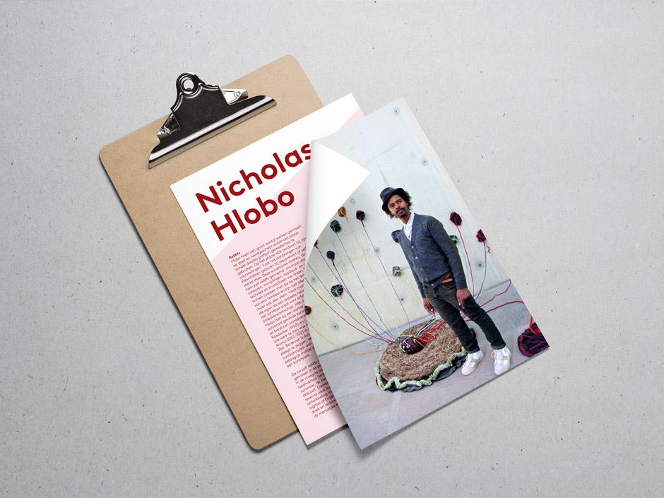 Grafisch ontwerpbureau Studio Mooijman en Mittelberg, Den Haag, flyer ontwerp, Museum Beelden aan Zee, Nicholas Hlobo