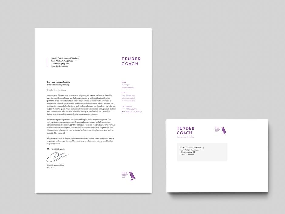 Grafisch ontwerpbureau Studio Mooijman en Mittelberg ontwerp briefpapier en envelop Tender Services Group