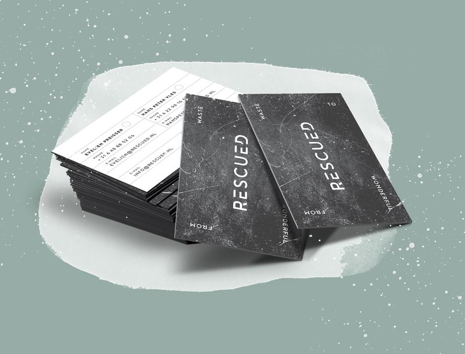 Rescued, visitekaartjes, logo, identiteit, Grafisch ontwerpbureau Studio Mooijman en Mittelberg, ontwerp, Den Haag