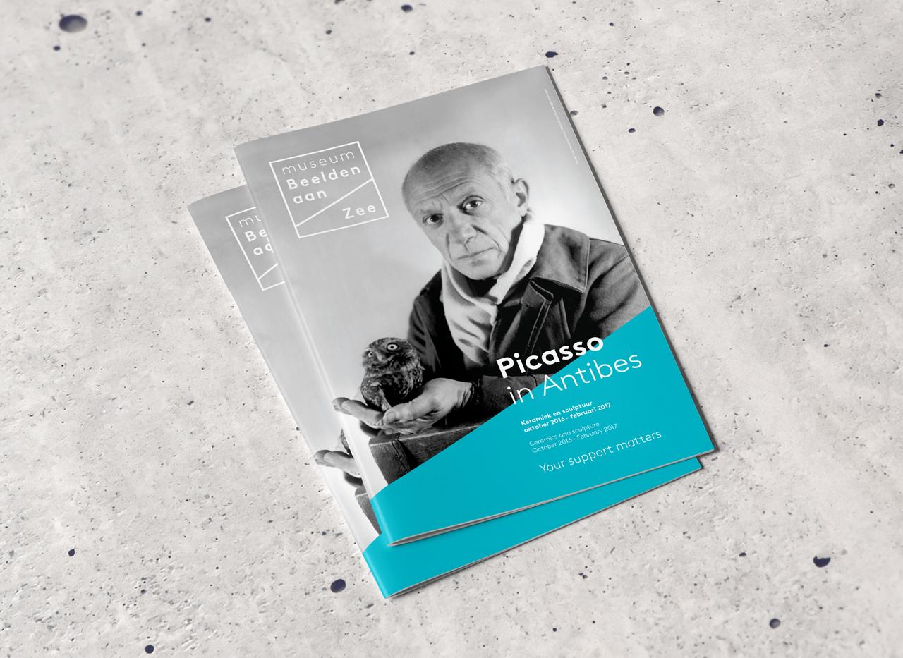 Museum Beelden aan Zee brochure Picasso – Studio Mooijman en Mittelberg, Grafisch ontwerpbureau, Den Haag