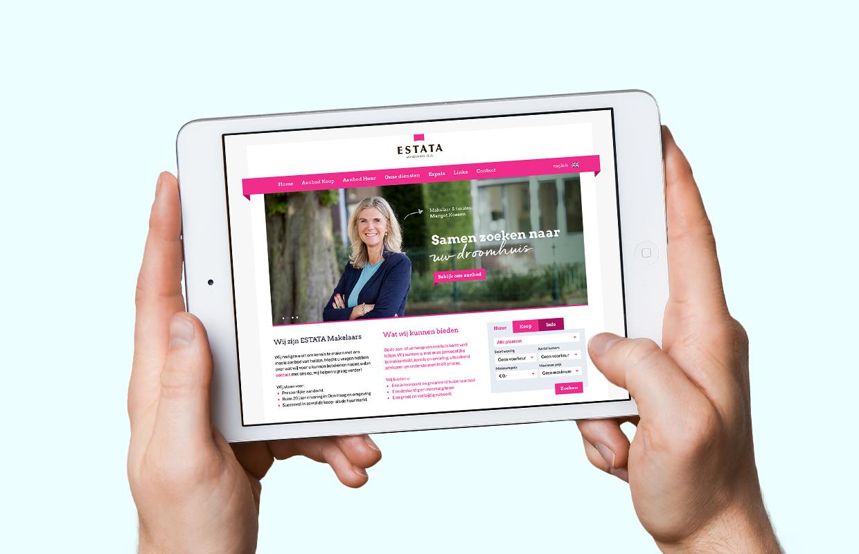 Estata Makelaars website – Studio Mooijman en Mittelberg, Grafisch ontwerpbureau, Den Haag