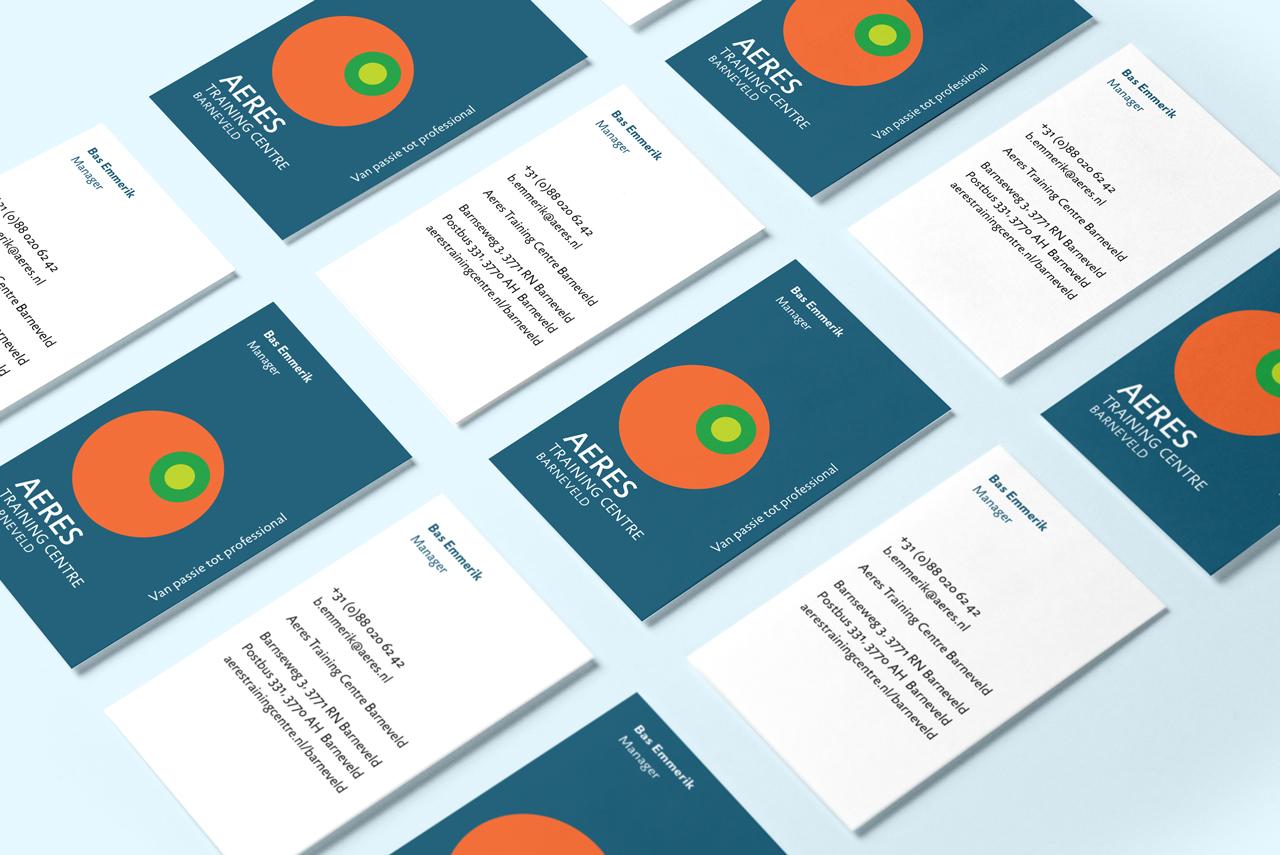Aeres Training Centre Barneveld visitekaartjes – Studio Mooijman en Mittelberg, Grafisch ontwerpbureau, Den Haag