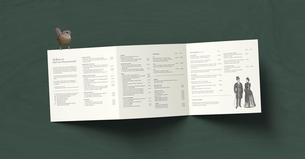 Hof van Duivenvoorde menukaart – Studio Mooijman en Mittelberg, Grafisch ontwerpbureau, Den Haag